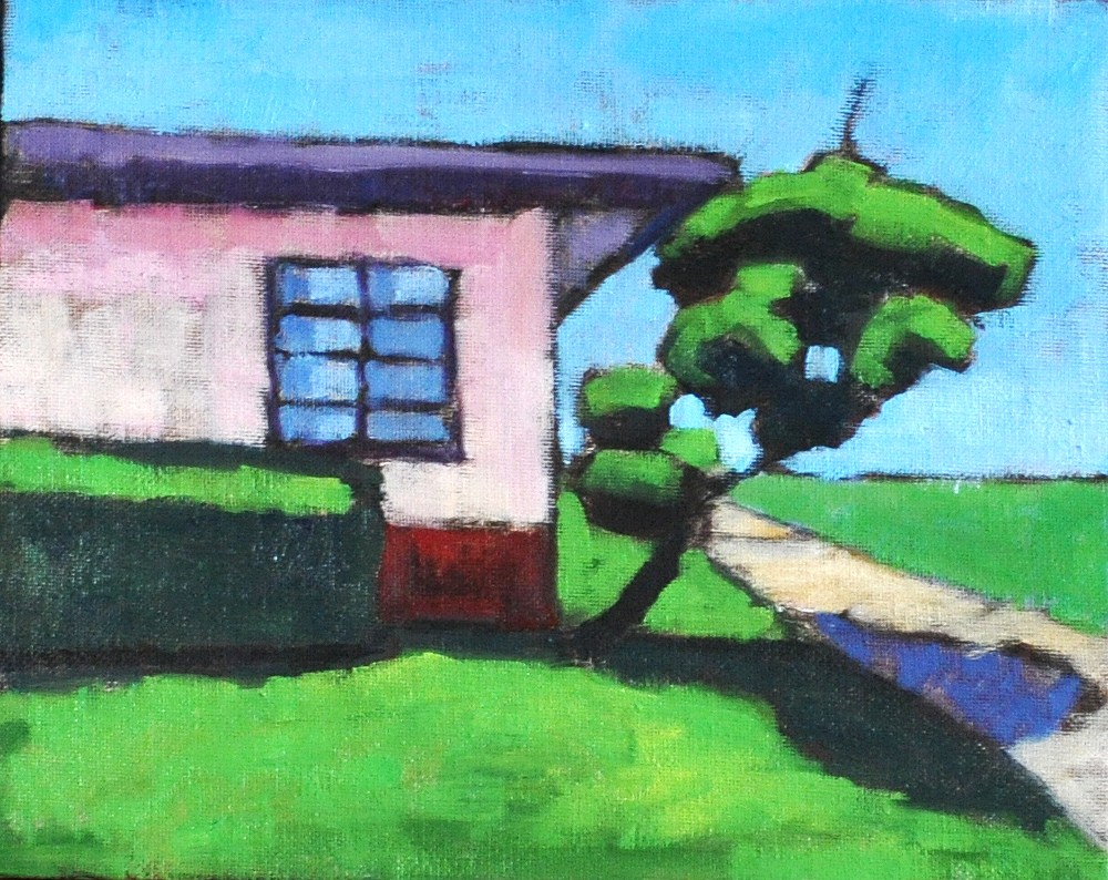 """Pink Fifties House on Park"" original fine art by Kevin Inman"