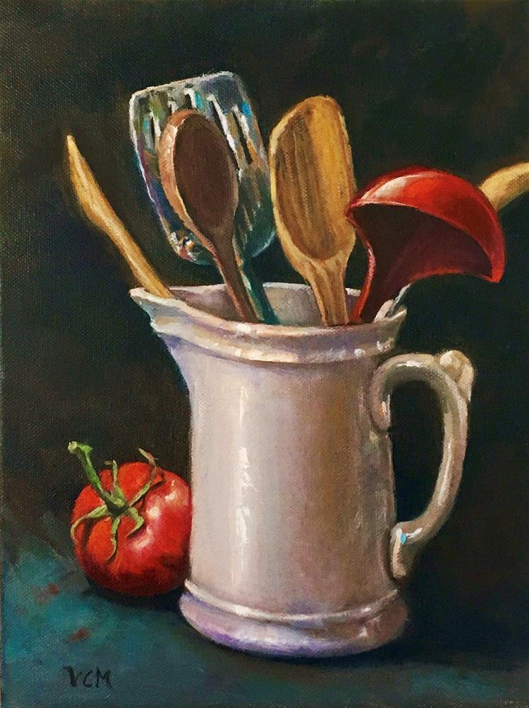 """Oil Ironstone Pitcher with Kitchen Tools & Tomato"" original fine art by Vana Meyers"