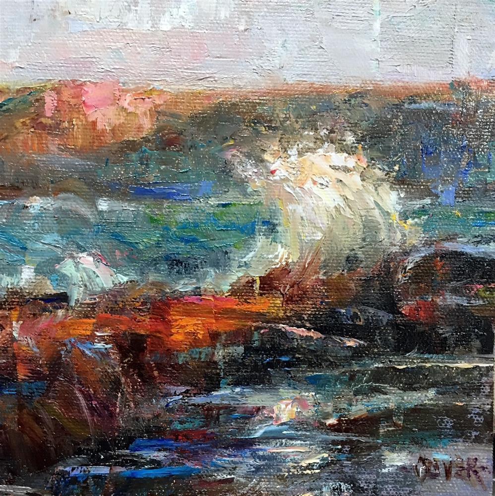 """""""Sunset At The Ocean - Blue and Orange"""" original fine art by Julie Ford Oliver"""