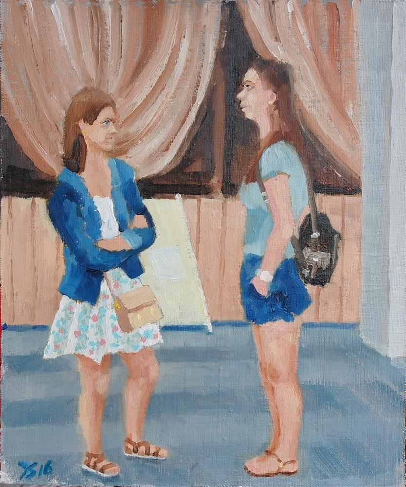 """""""2 gossip girls"""" original fine art by Yuriy Semyonov"""