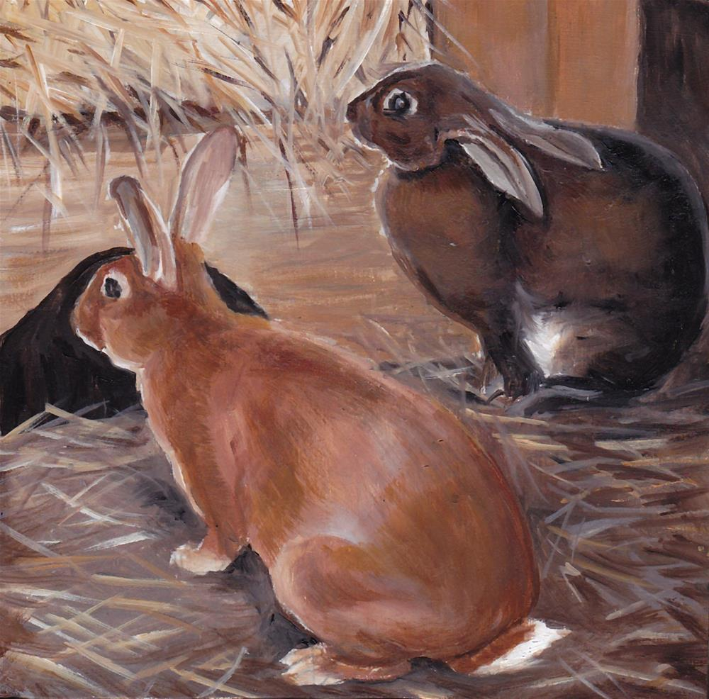 """At the Rabbit Hut"" original fine art by Charlotte Yealey"
