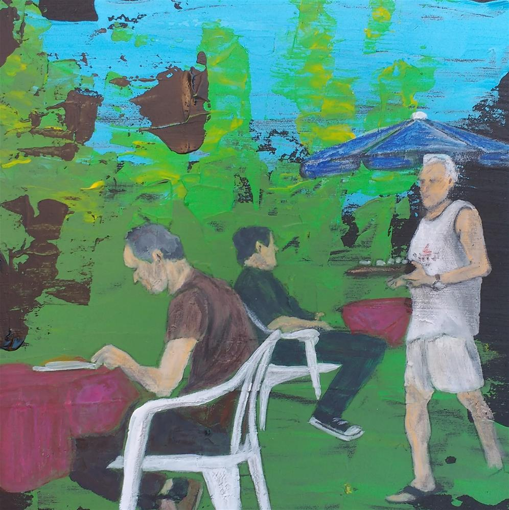 """""""garden restaurant"""" original fine art by Sandra Woerner"""