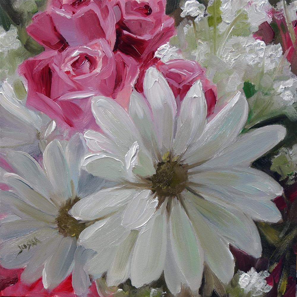 """Gerbera Daisy and Roses"" original fine art by Elaine Juska Joseph"