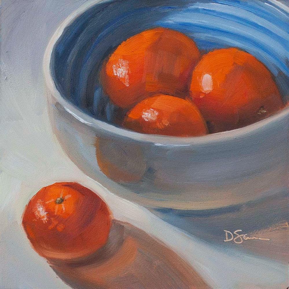 """Clementines in Blue"" original fine art by Deborah Savo"
