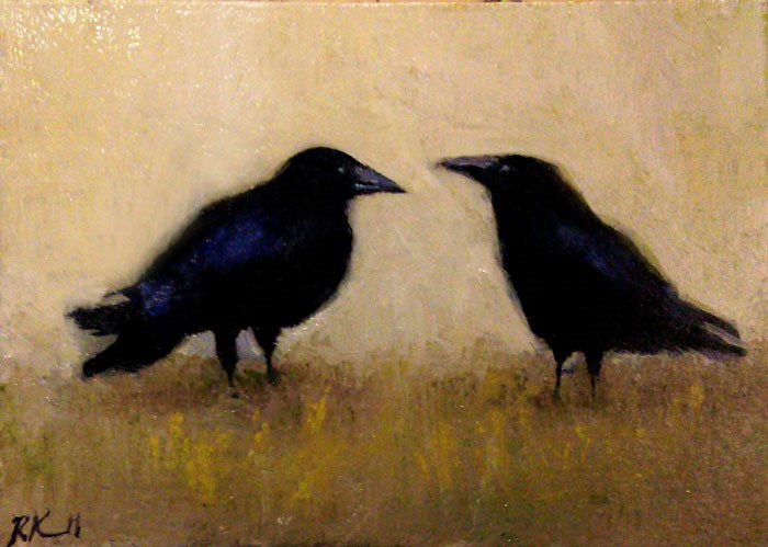 """Two Ravens"" original fine art by Bob Kimball"