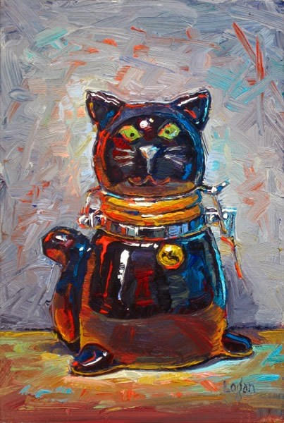 """Halloween Cat Cookie Jar"" original fine art by Raymond Logan"