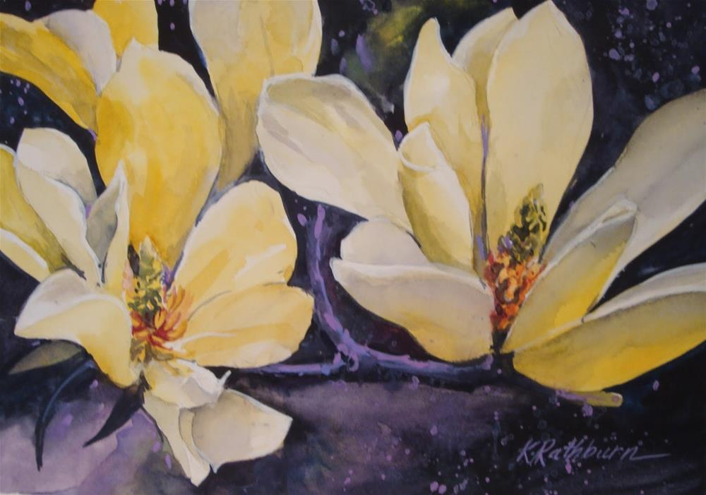 """Yello Magnolias"" original fine art by Kathy Los-Rathburn"