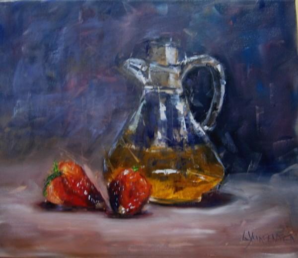 """strawberries and vinegar 12 x 14 inch oil on canvas"" original fine art by Linda Yurgensen"