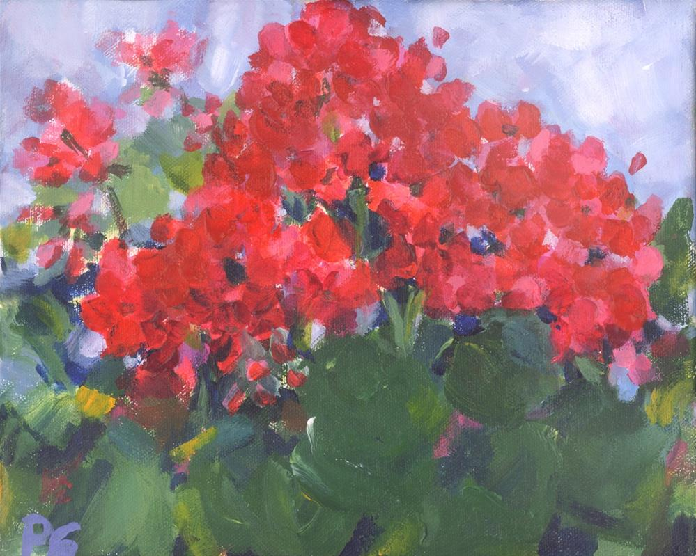 """Red Cherry Geraniums"" original fine art by Pamela Gatens"