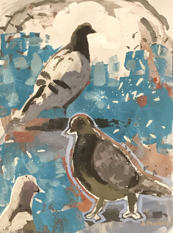 """Pigeons on Turquoise"" original fine art by Andrew Daniel"