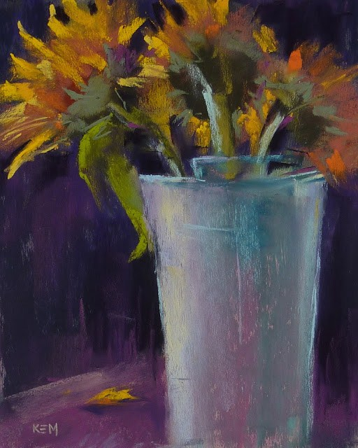 """An Easy Way to Simplify a Painting.. Sunflowers!"" original fine art by Karen Margulis"