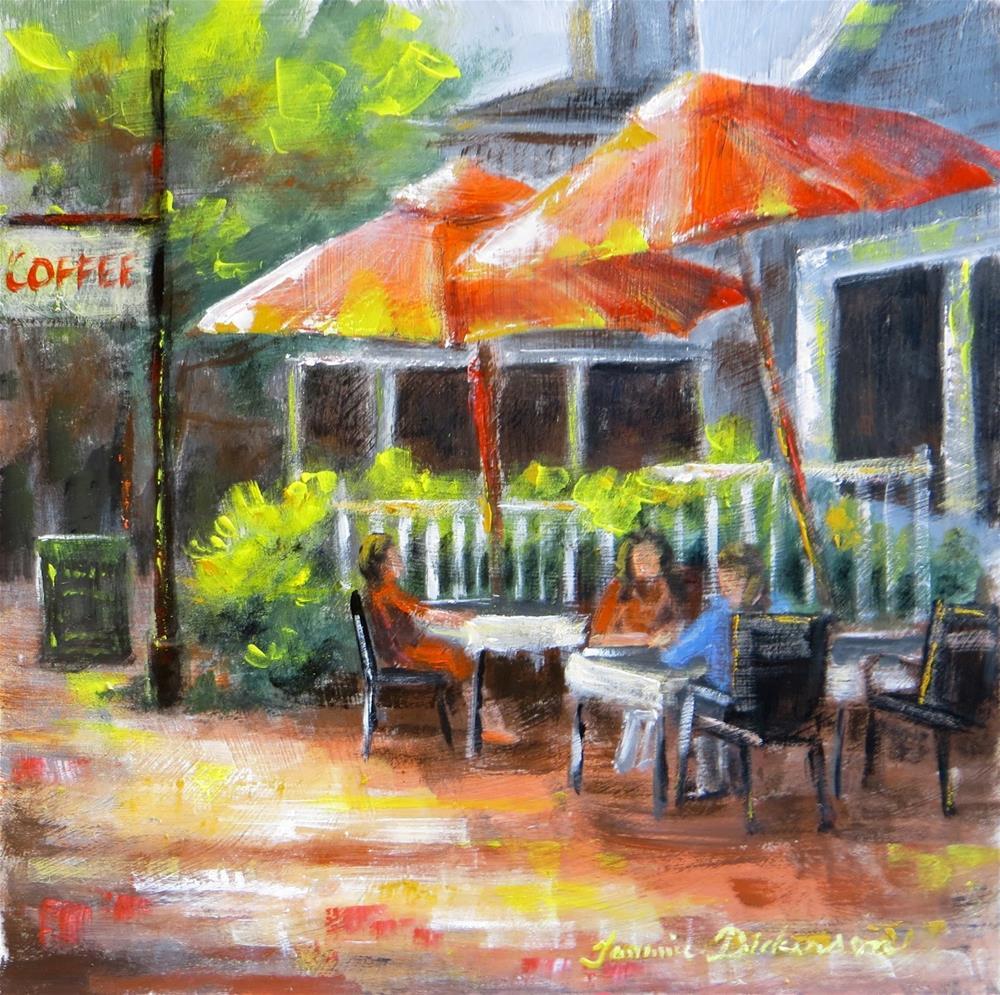"""Coffee & Red Umbrellas"" original fine art by Tammie Dickerson"