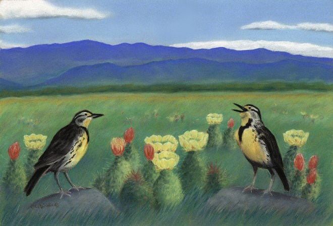 """""""Meadowlarks in the Prickly Pear"""" original fine art by Carol Zirkle"""