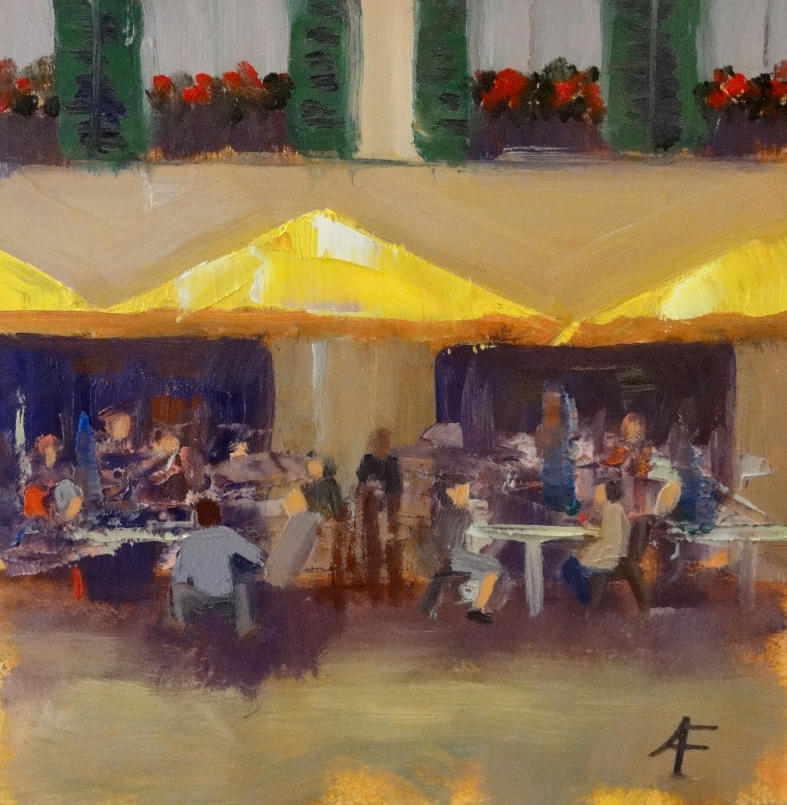 """Das Kaffeehaus, 6x6"" original fine art by Ann Feldman"