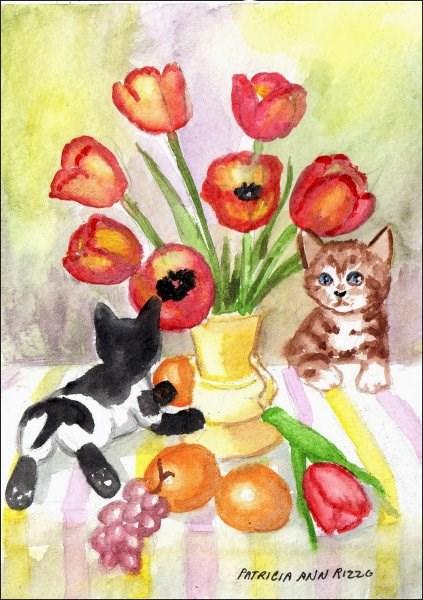 """Curous Kittens"" original fine art by Patricia Ann Rizzo"