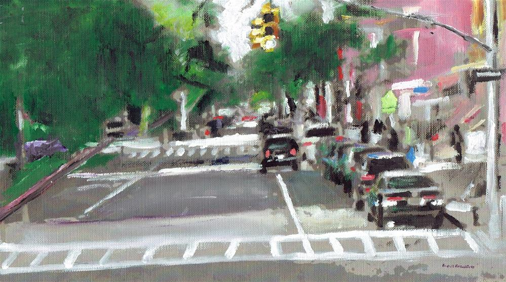 """Harlem Streets (10.5 x 6 oil on canvas sheet - no frame)"" original fine art by Ramon DelRosario"