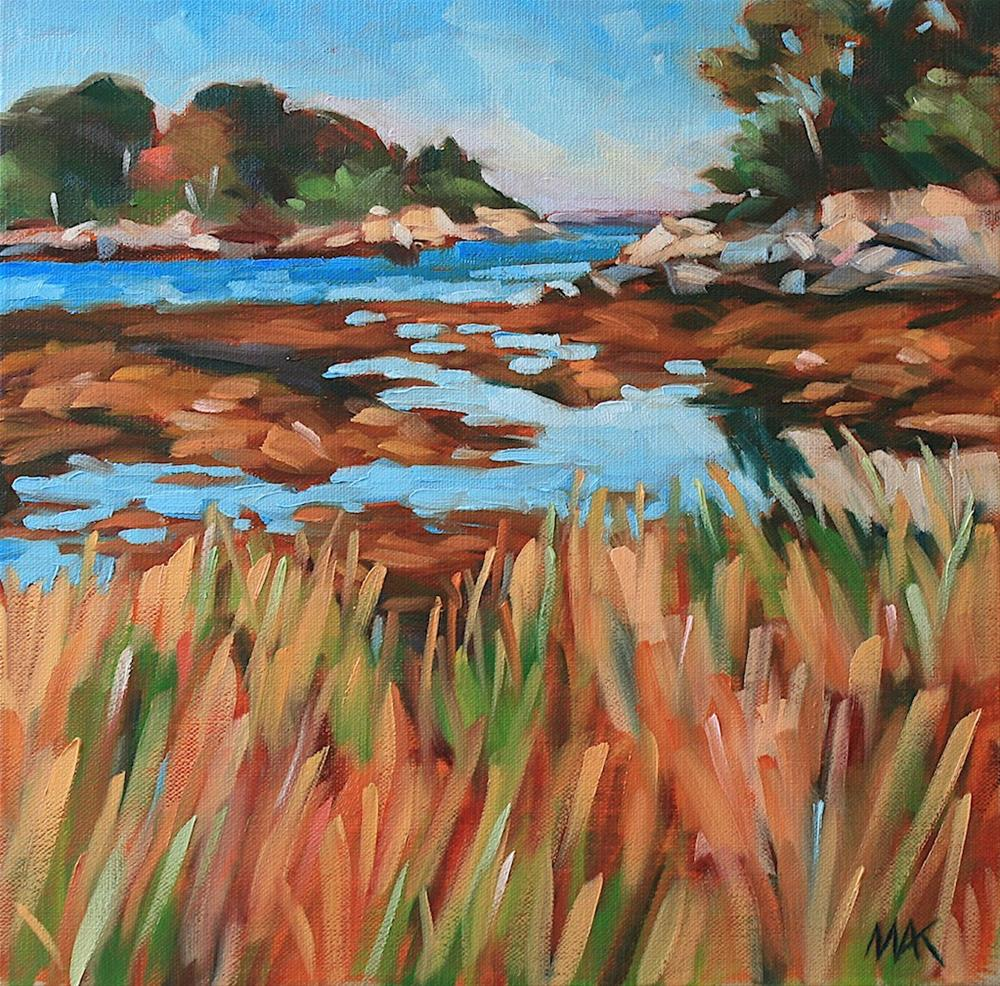 """Pumpkin Nob View from Peaks Island"" original fine art by Mary Anne Cary"