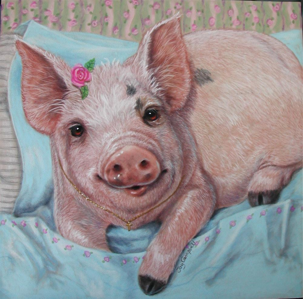 """Cuddle Piggie"" original fine art by Joy Campbell"