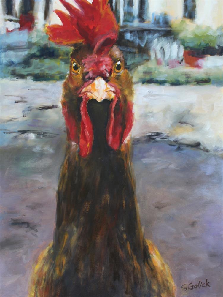 """Who You Calling Chicken?"" original fine art by Susan Galick"