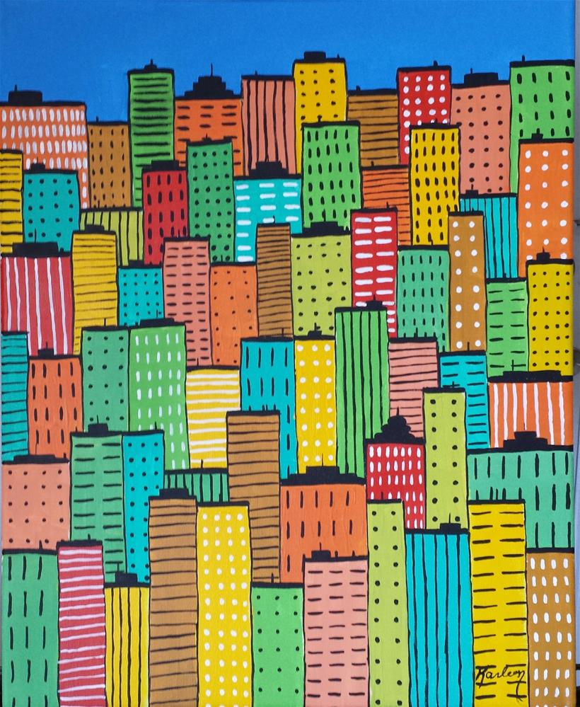 """Abstract Cityscape"" original fine art by Karleen Kareem"