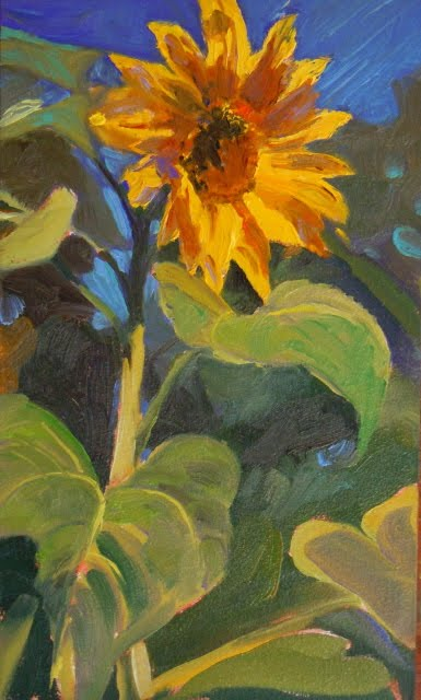 """You are my Sunshine sunflower oil painting,"" original fine art by Robin Weiss"