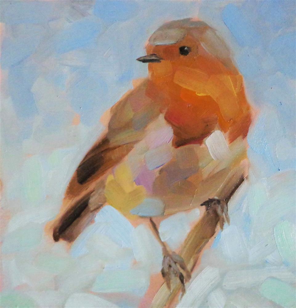 """Robin on a branch"" original fine art by Maria Z."