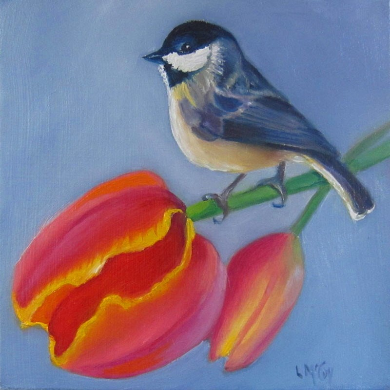 """Spring! Tulip and Chickadee by Linda McCoy"" original fine art by Linda McCoy"