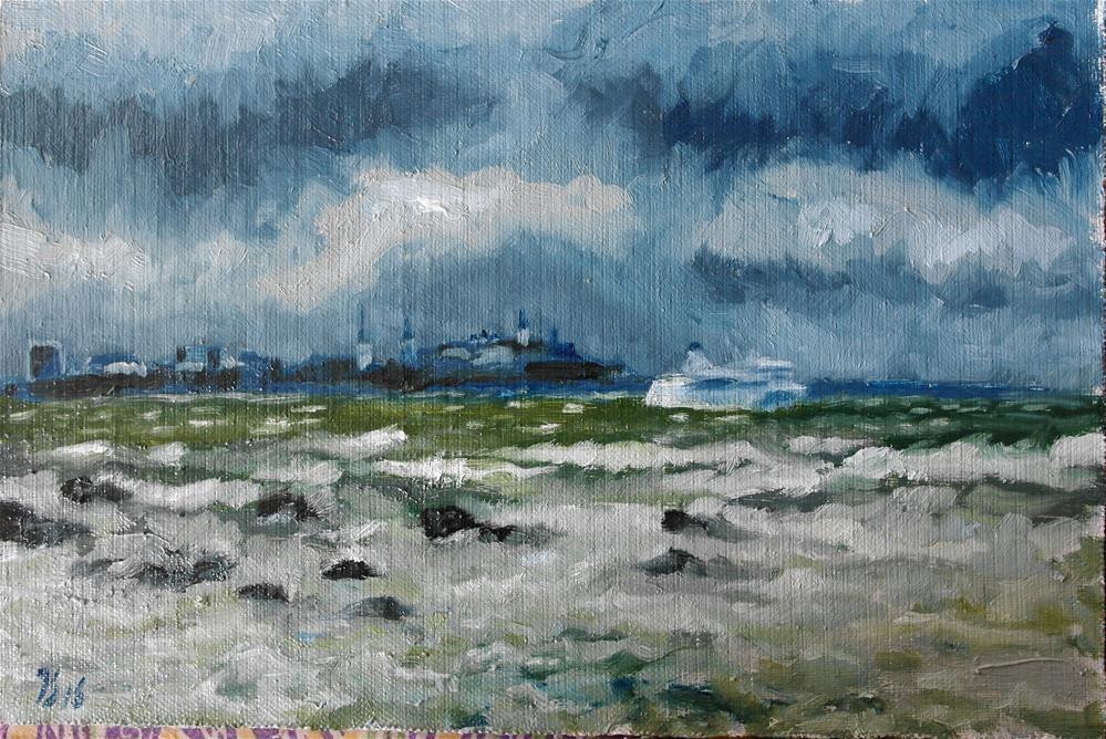 """""""storm is coming, Tallinn view"""" original fine art by Yuriy Semyonov"""