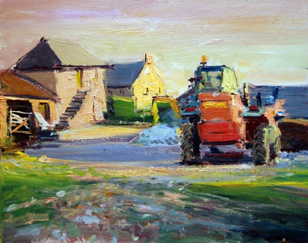 """Cornwall Series III (Evening Light, Cornish Farmyard)"" original fine art by Adebanji Alade"