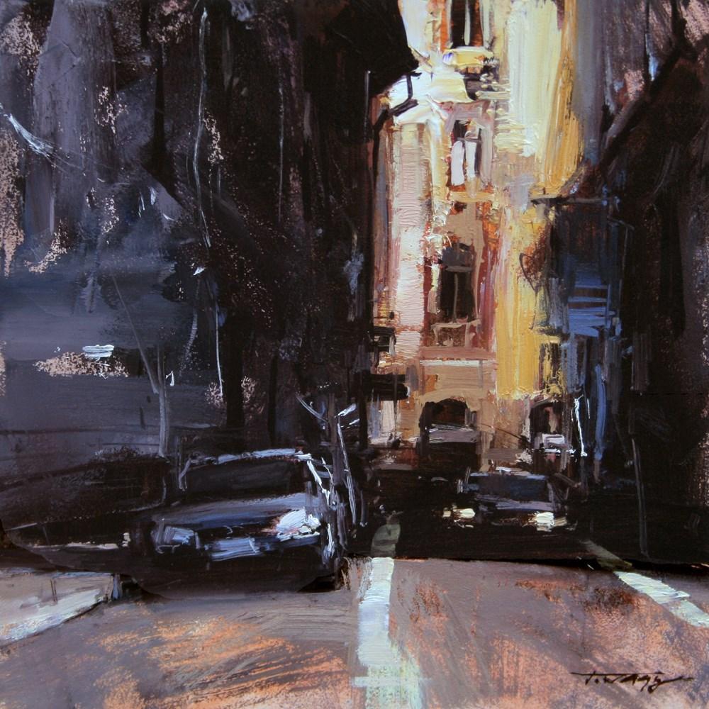 """Downtown Passage"" original fine art by Tibor Nagy"