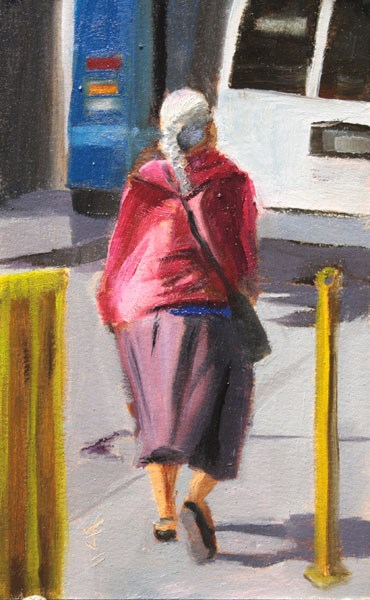 """Tijuana Woman Walking"" original fine art by Jane Frederick"