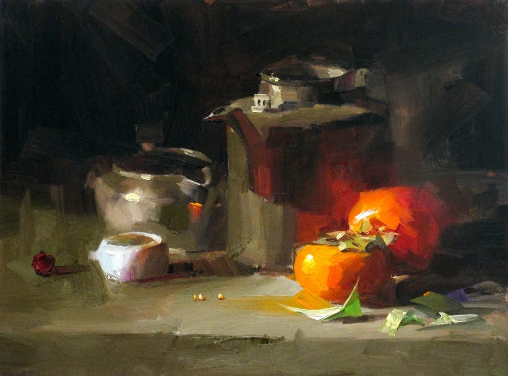 """Persimmons"" original fine art by Qiang Huang"