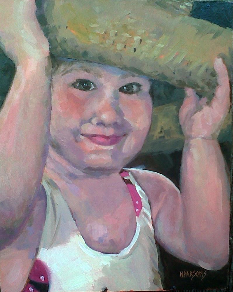 """Samantha's Straw Hat"" original fine art by Nancy Parsons"