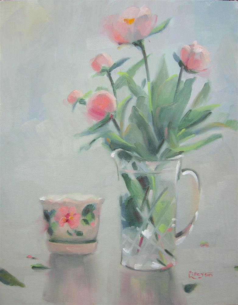 """""""Peonies in Crystal Vase"""" original fine art by Maresa Lilley"""