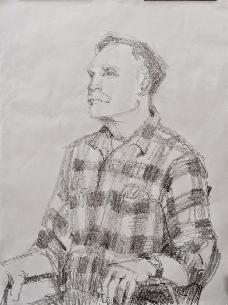 """John,portrait,graphite on paper,24x18,Price$175"" original fine art by Joy Olney"