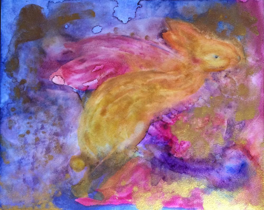 """""""Winged Bunny"""" original fine art by Susan Medyn"""