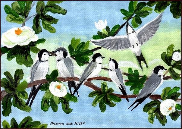 """""""Swallows in the Magnolia Tree"""" original fine art by Patricia Ann Rizzo"""