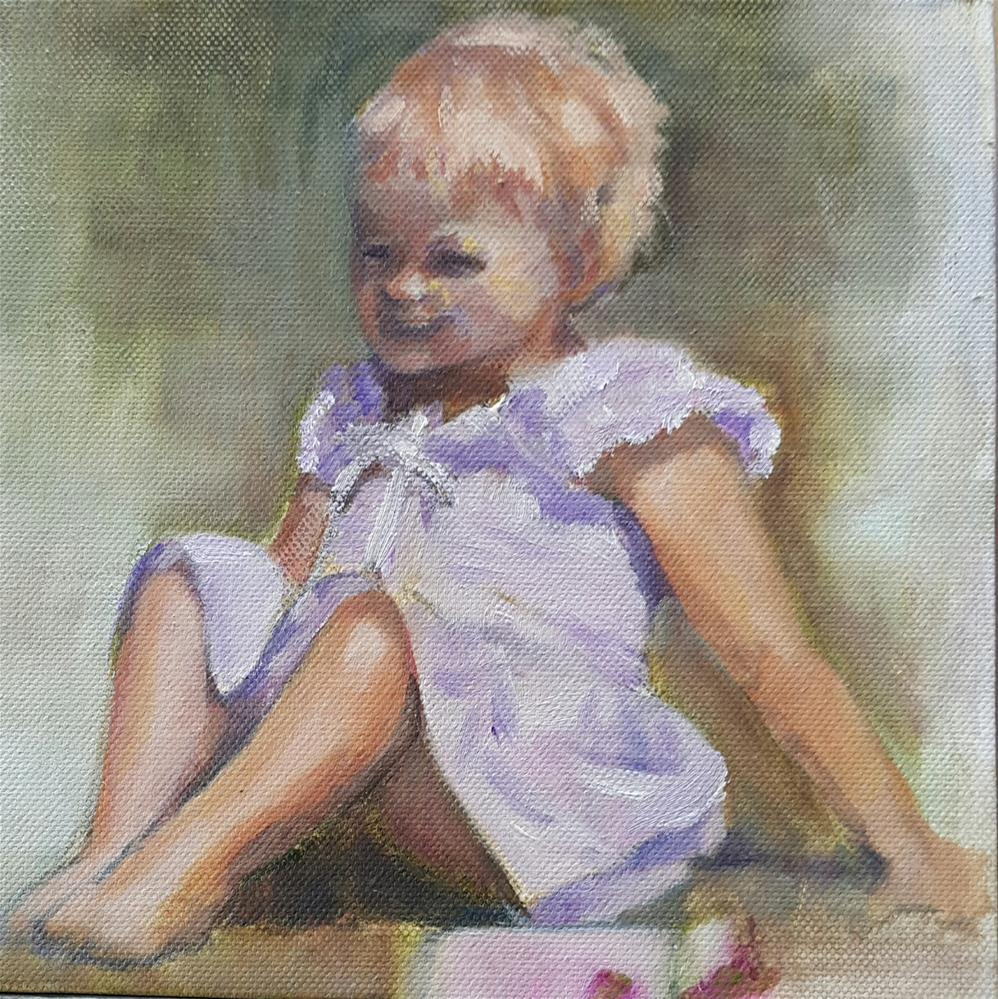 """Lilac dress"" original fine art by Rentia Coetzee"
