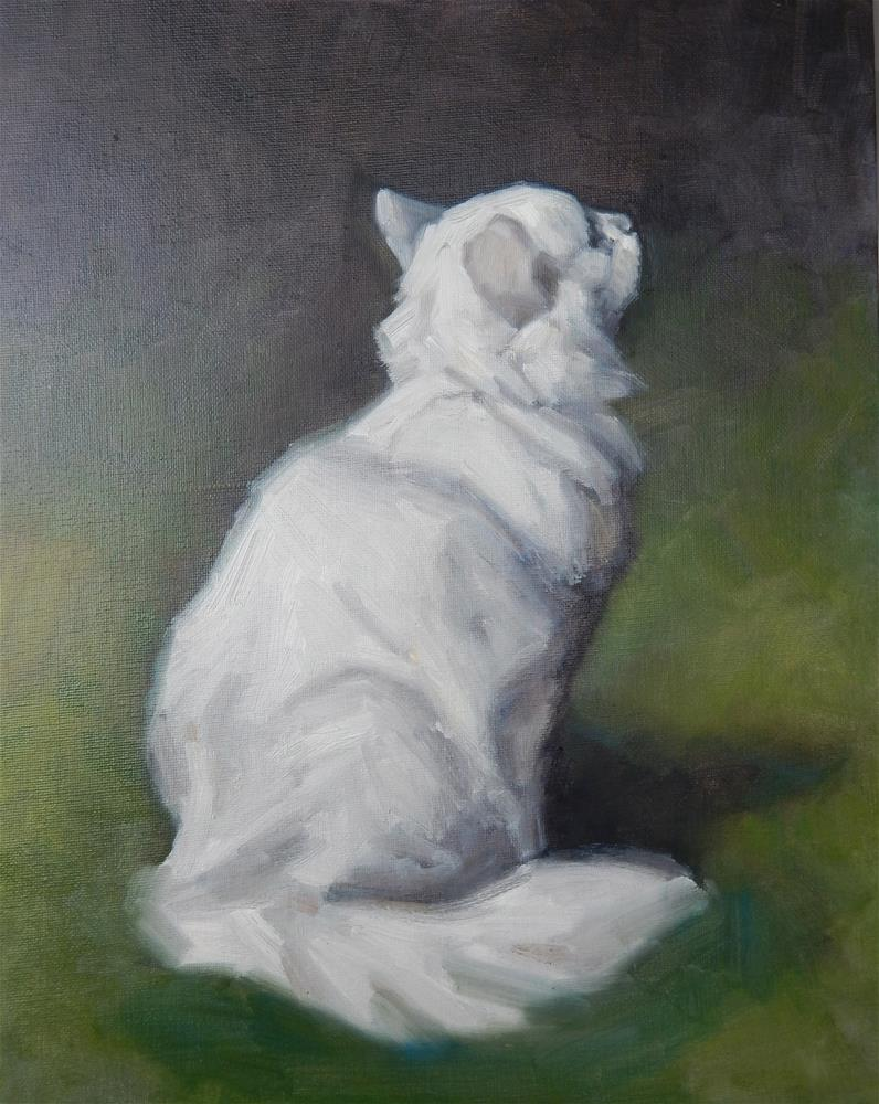 """After Arthur Heyer, White Persian Cat in a Garden"" original fine art by Megan Schembre"