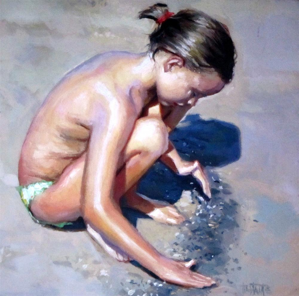"""Playing in the sand"" original fine art by Víctor Tristante"