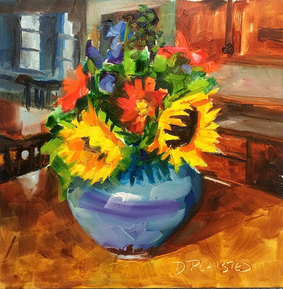 """Kitchen Sunflowers"" original fine art by Diane Plaisted"