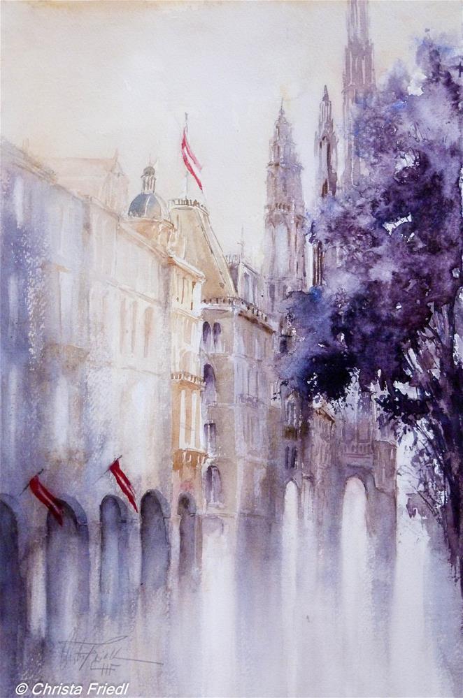 """Vienna City Hall"" original fine art by Christa Friedl"