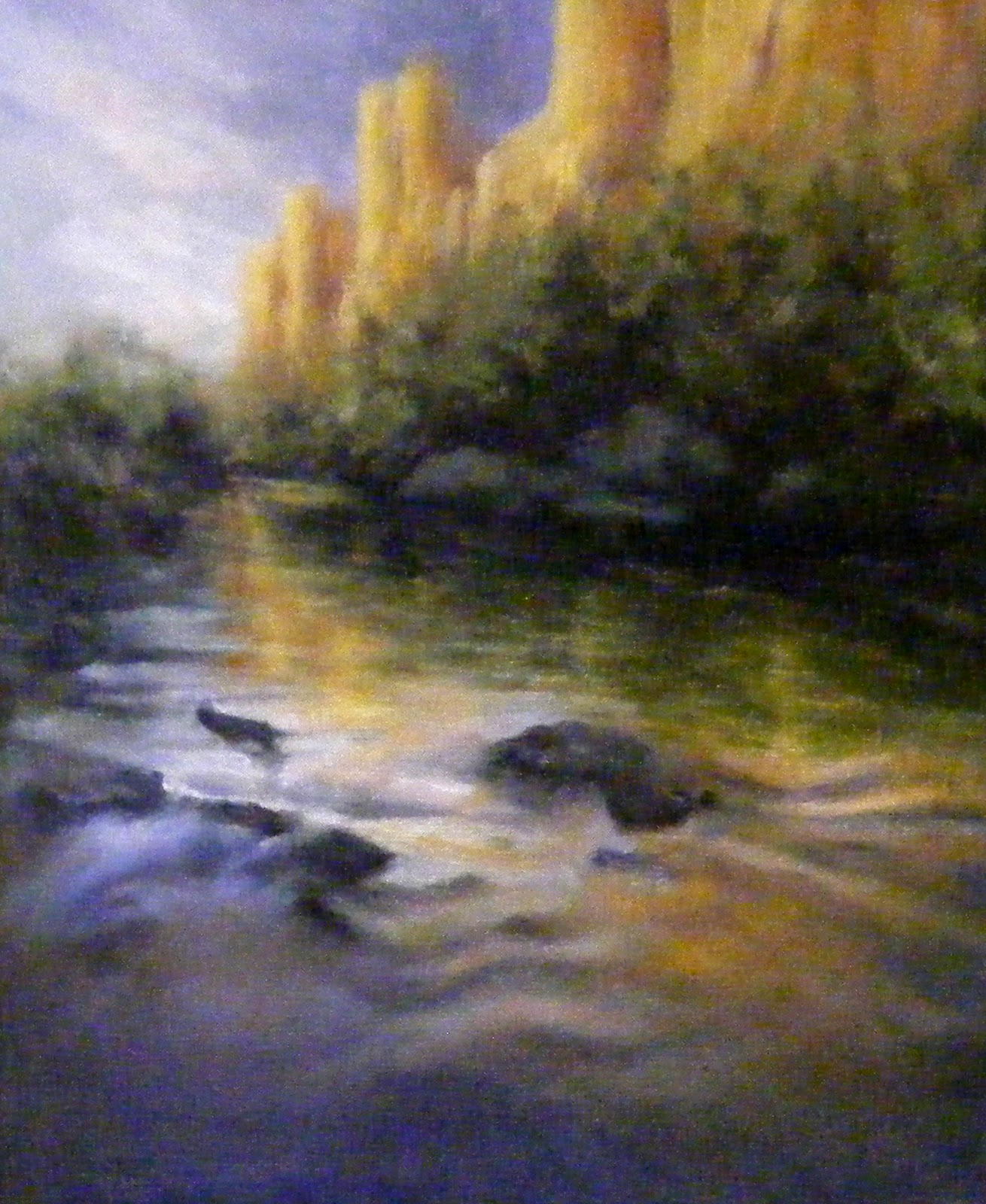 """""""River Reflections, Landscape, Oil"""" original fine art by Diana Delander"""