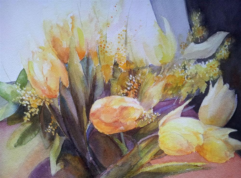 """Yellow tulips"" original fine art by Olga Touboltseva-Lefort"