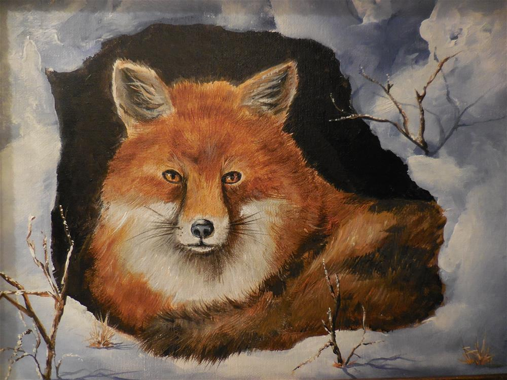 """Fox in a Hole"" original fine art by Terri Nicholson"
