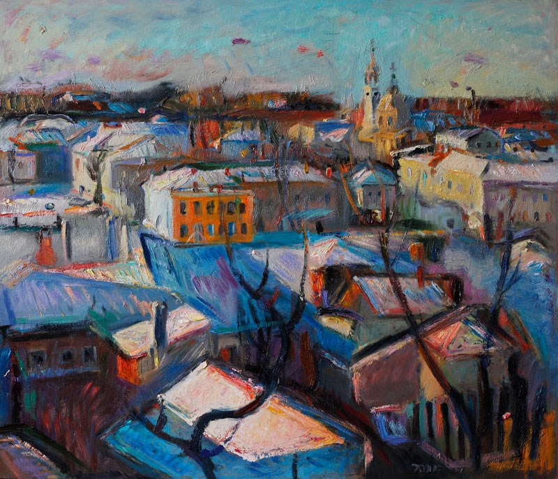 """Snow Covered Town"" original fine art by Anna  Fine Art"