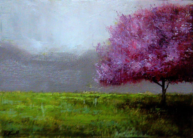"""A Redbud Tree in the Park"" original fine art by Bob Kimball"