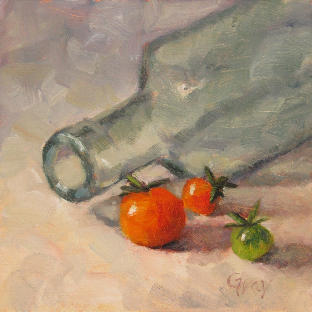 """Mini Tomatoes and Bottle"" original fine art by Naomi Gray"