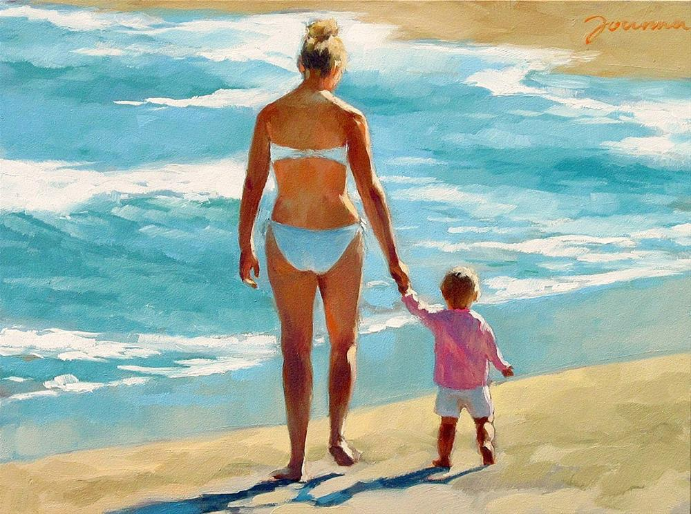 """Early Steps--Series Painting of Mother and Child at Beach"" original fine art by Joanna Bingham"