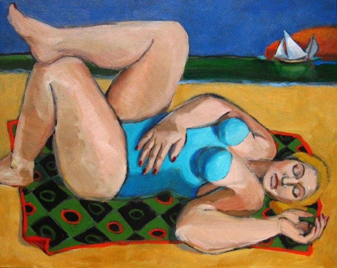 """The Nap, figurative painting of woman at beach, sailboats, figure painter, figuration"" original fine art by Marie Fox"
